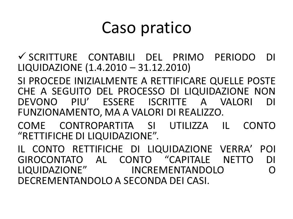 Caso pratico SCRITTURE CONTABILI DEL PRIMO PERIODO DI LIQUIDAZIONE (1.4.2010 – 31.12.2010)