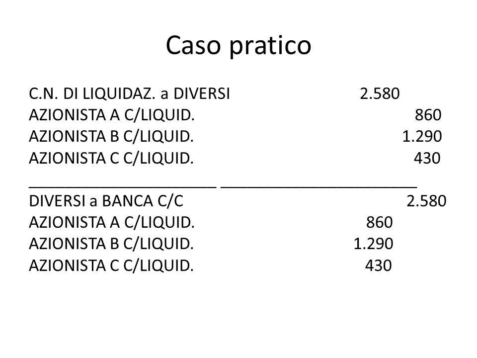 Caso pratico C.N. DI LIQUIDAZ. a DIVERSI 2.580