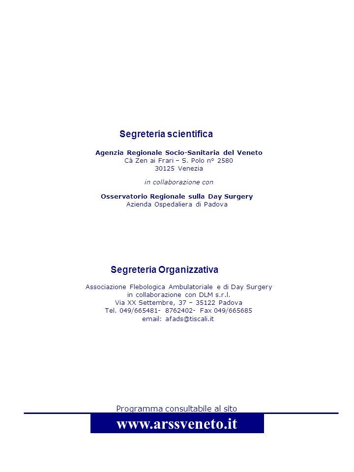 www.arssveneto.it Segreteria scientifica Segreteria Organizzativa