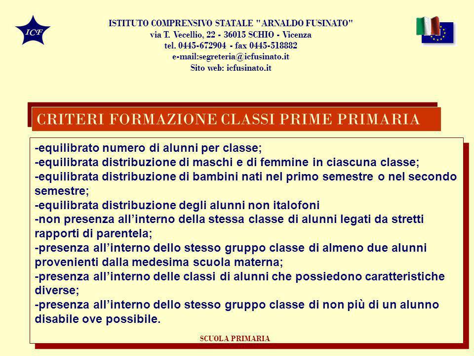 CRITERI FORMAZIONE CLASSI PRIME PRIMARIA