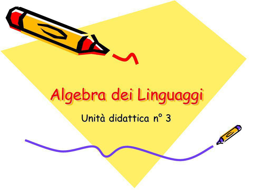 Algebra dei Linguaggi Unità didattica n° 3