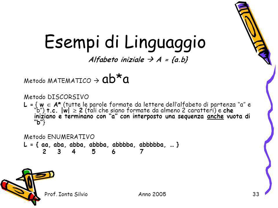 Alfabeto iniziale  A = {a.b}
