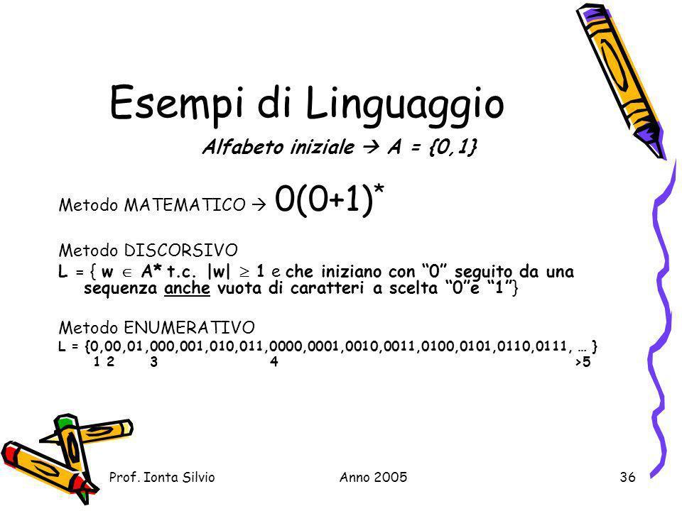 Alfabeto iniziale  A = {0,1}