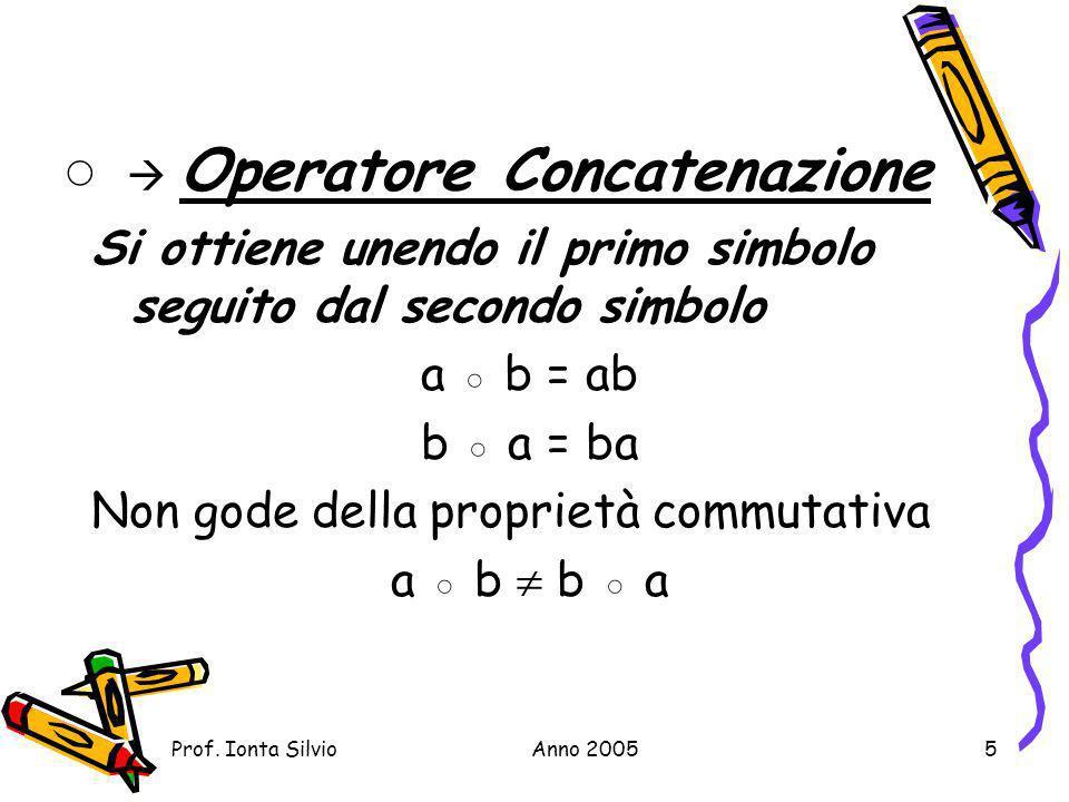 ◦  Operatore Concatenazione