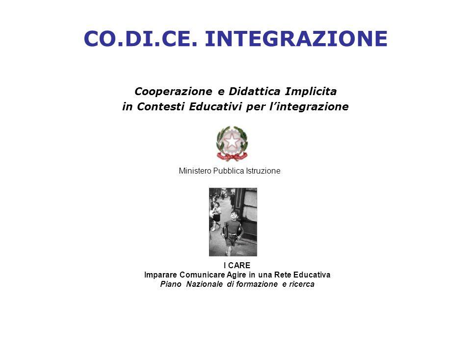 CO.DI.CE. INTEGRAZIONE Cooperazione e Didattica Implicita