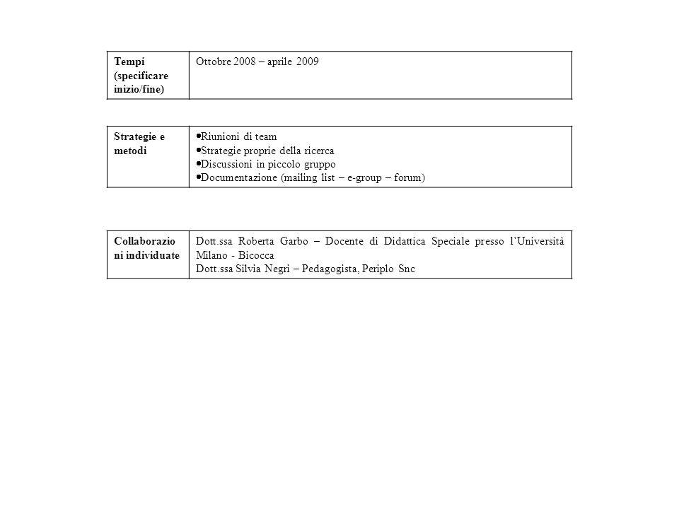 Tempi (specificare inizio/fine) Ottobre 2008 – aprile 2009. Strategie e metodi. Riunioni di team.