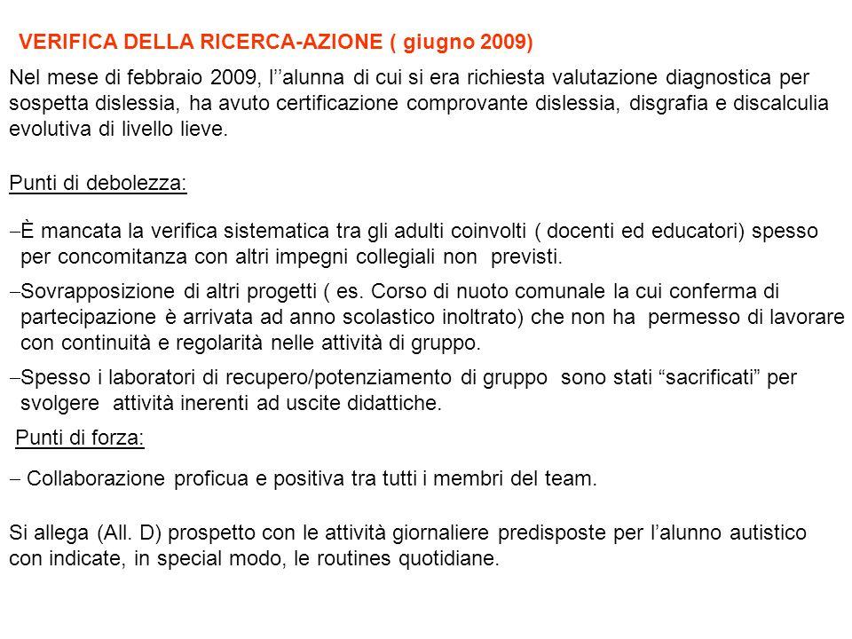 VERIFICA DELLA RICERCA-AZIONE ( giugno 2009)