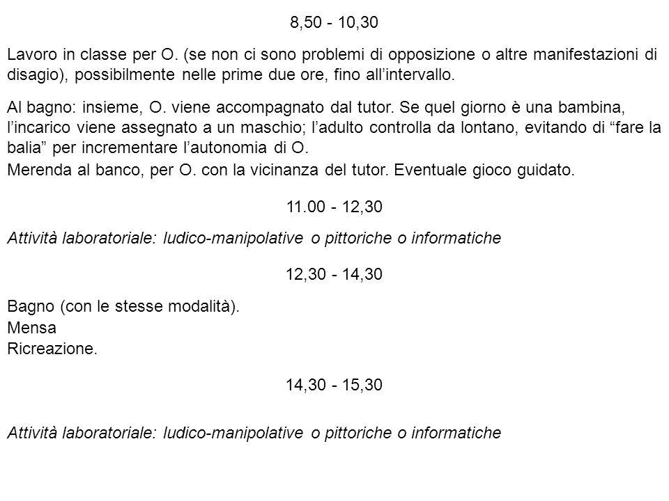 8,50 - 10,30 Lavoro in classe per O. (se non ci sono problemi di opposizione o altre manifestazioni di.