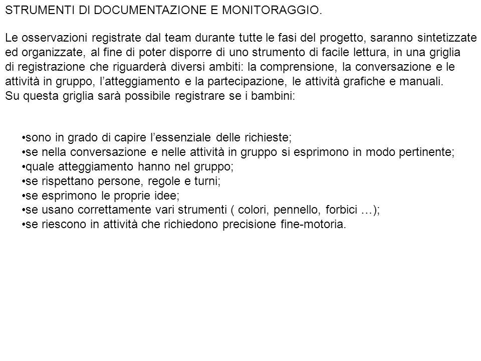 STRUMENTI DI DOCUMENTAZIONE E MONITORAGGIO.