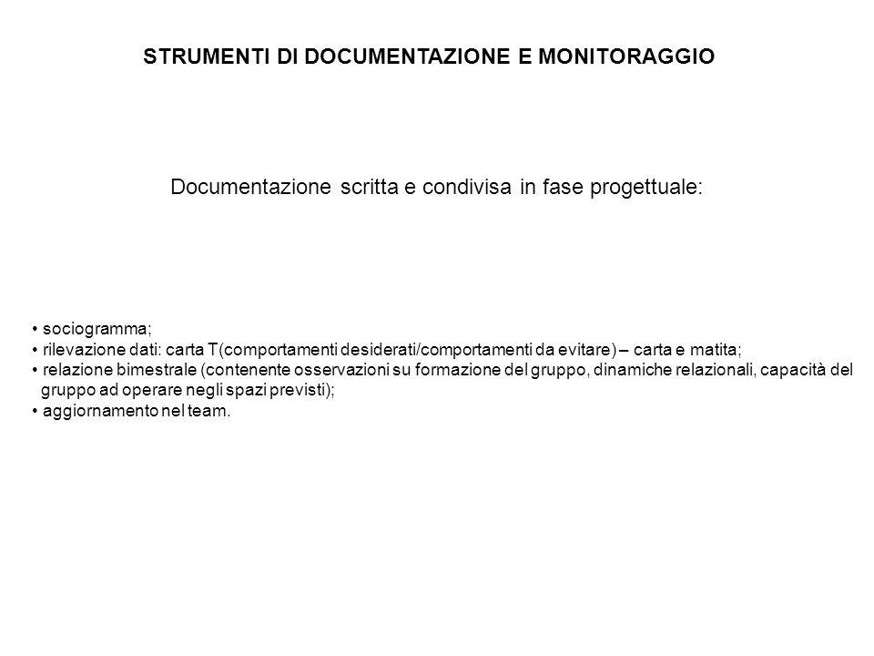 STRUMENTI DI DOCUMENTAZIONE E MONITORAGGIO