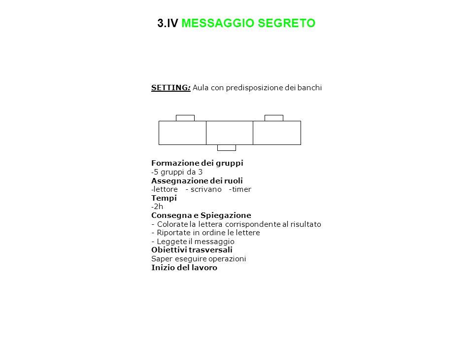3.IV MESSAGGIO SEGRETO SETTING: Aula con predisposizione dei banchi