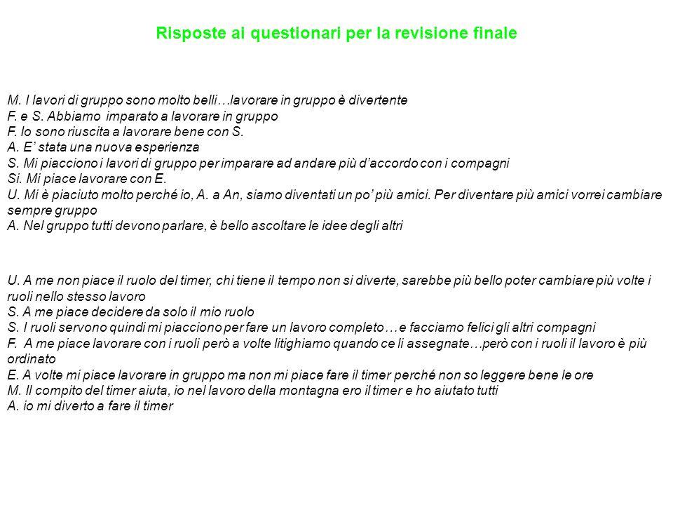 Risposte ai questionari per la revisione finale