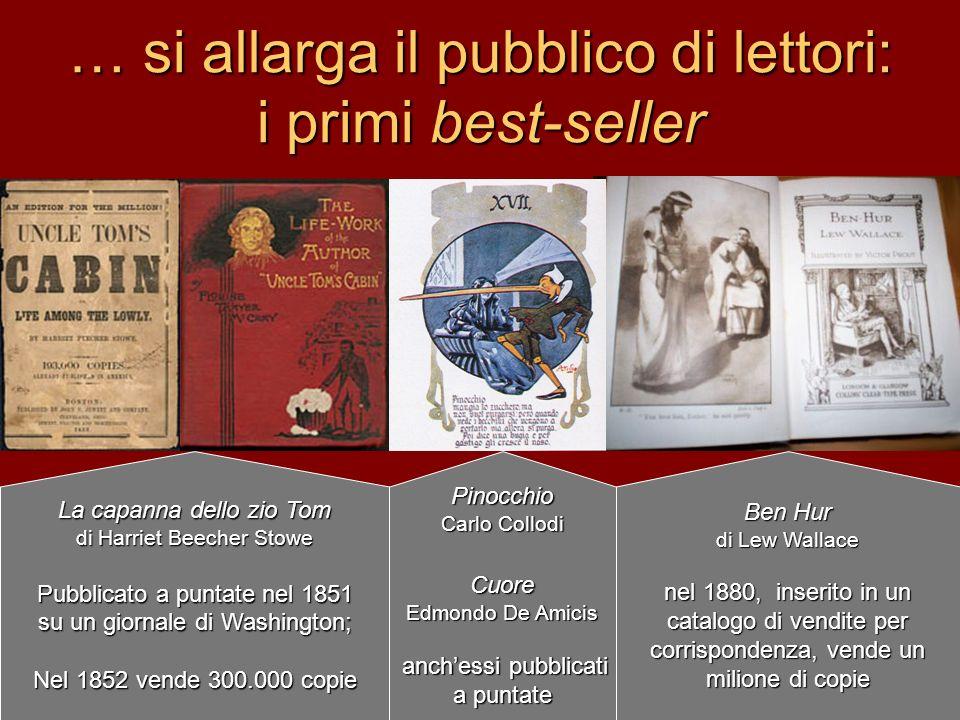 … si allarga il pubblico di lettori: i primi best-seller
