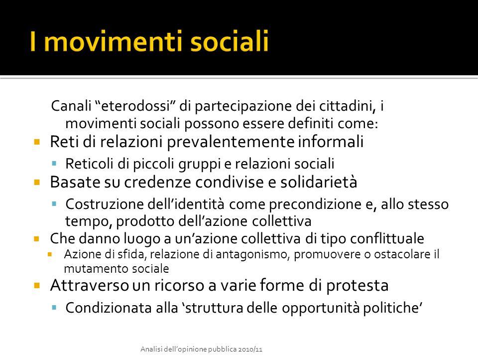 I movimenti sociali Reti di relazioni prevalentemente informali