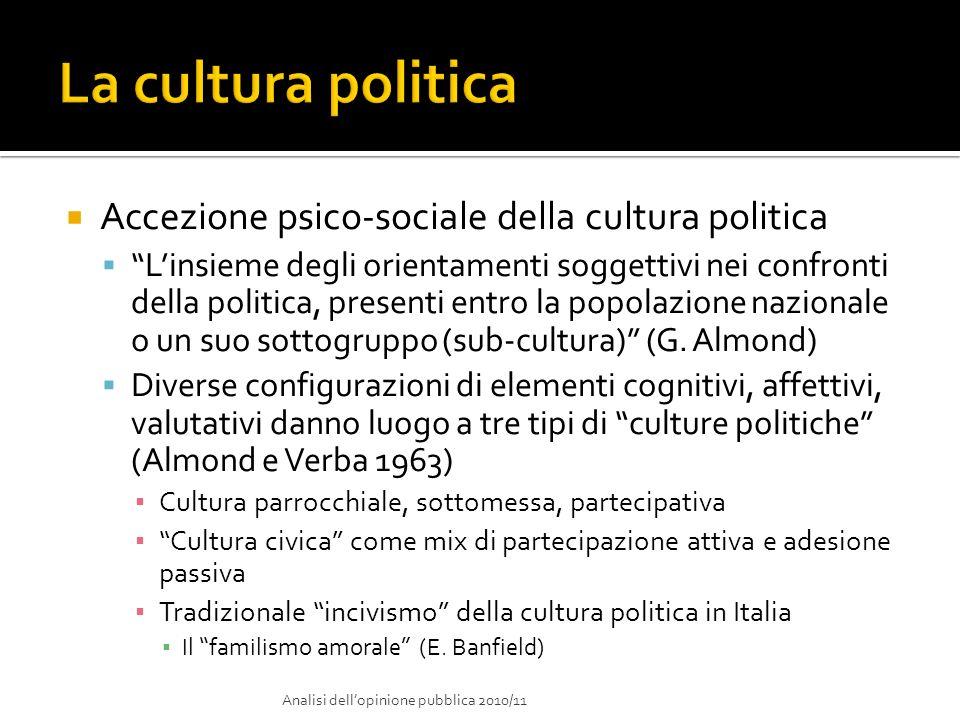 La cultura politica Accezione psico-sociale della cultura politica