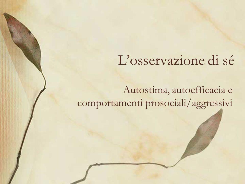Autostima, autoefficacia e comportamenti prosociali/aggressivi
