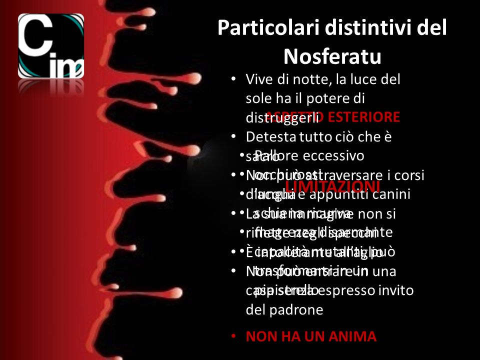 Particolari distintivi del Nosferatu