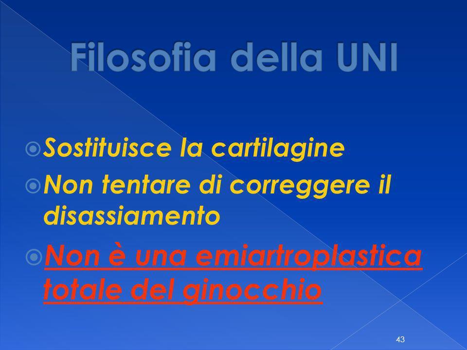 Filosofia della UNI Non è una emiartroplastica totale del ginocchio