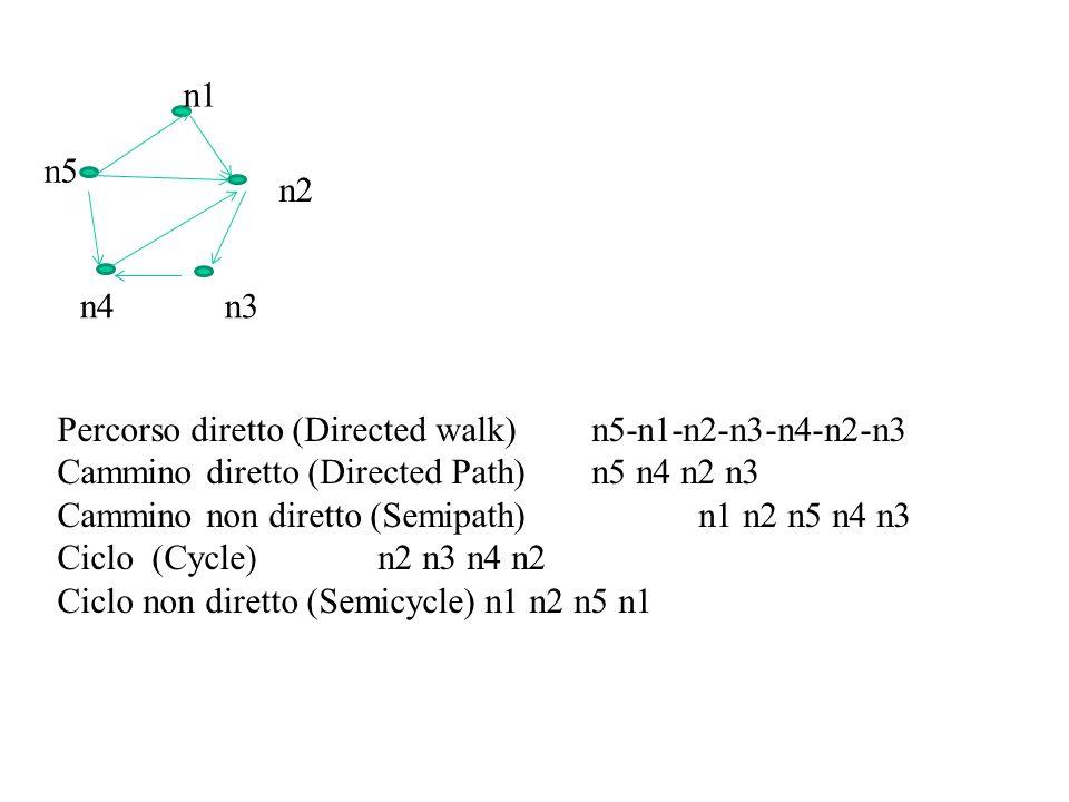 n1 n5. n2. n4. n3. Percorso diretto (Directed walk) n5-n1-n2-n3-n4-n2-n3. Cammino diretto (Directed Path) n5 n4 n2 n3.
