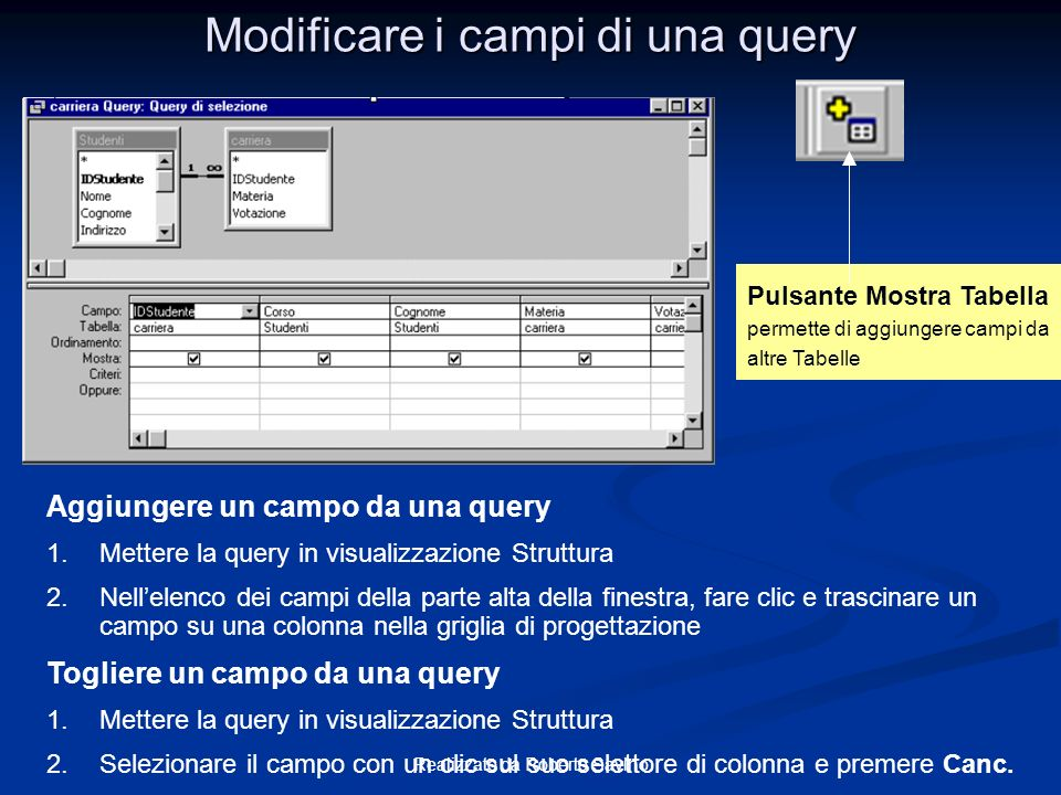 Modificare i campi di una query