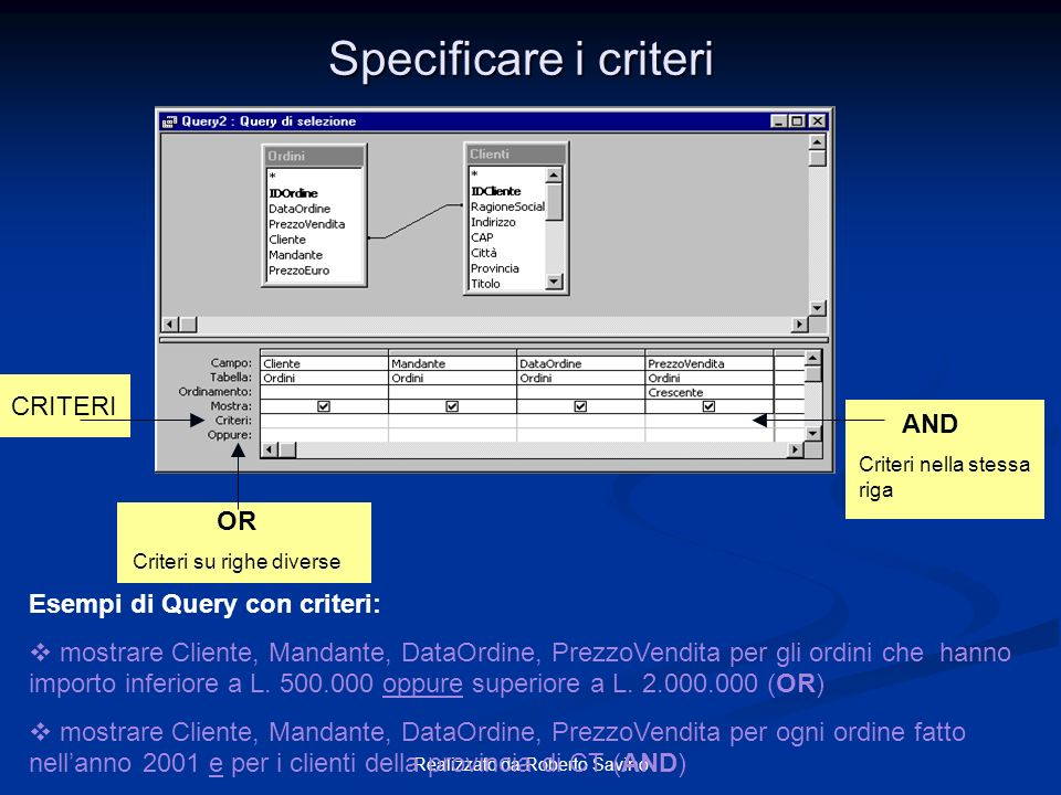 Specificare i criteri CRITERI AND OR Esempi di Query con criteri: