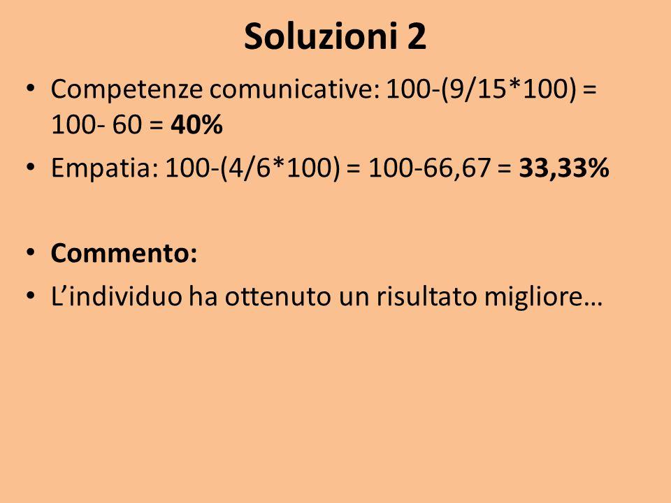 Soluzioni 2 Competenze comunicative: 100-(9/15*100) = 100- 60 = 40%