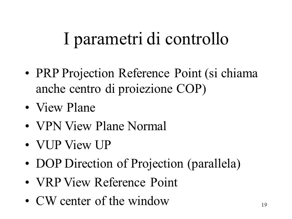 I parametri di controllo
