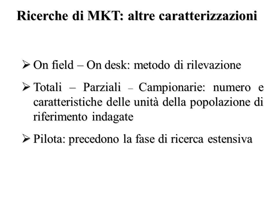 Ricerche di MKT: altre caratterizzazioni