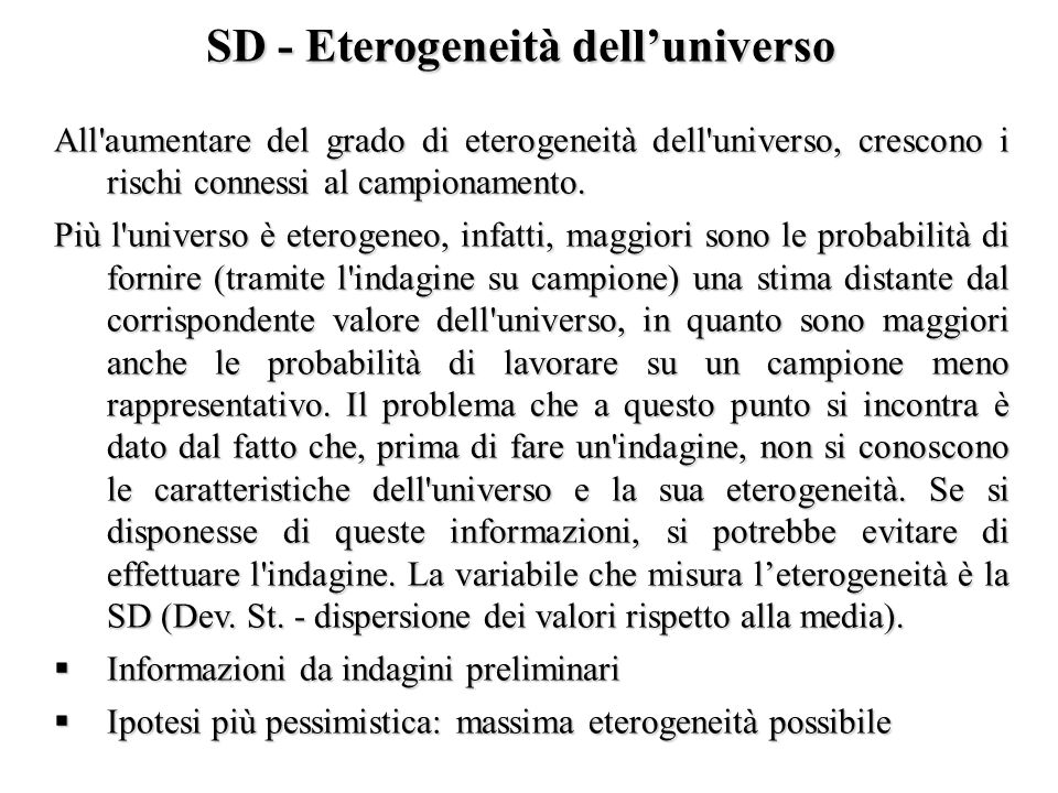 SD - Eterogeneità dell'universo