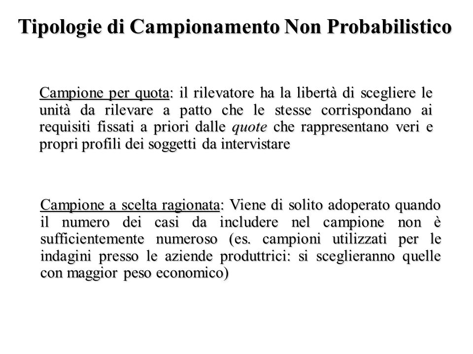 Tipologie di Campionamento Non Probabilistico