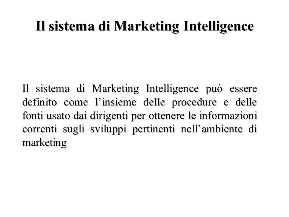 Il sistema di Marketing Intelligence