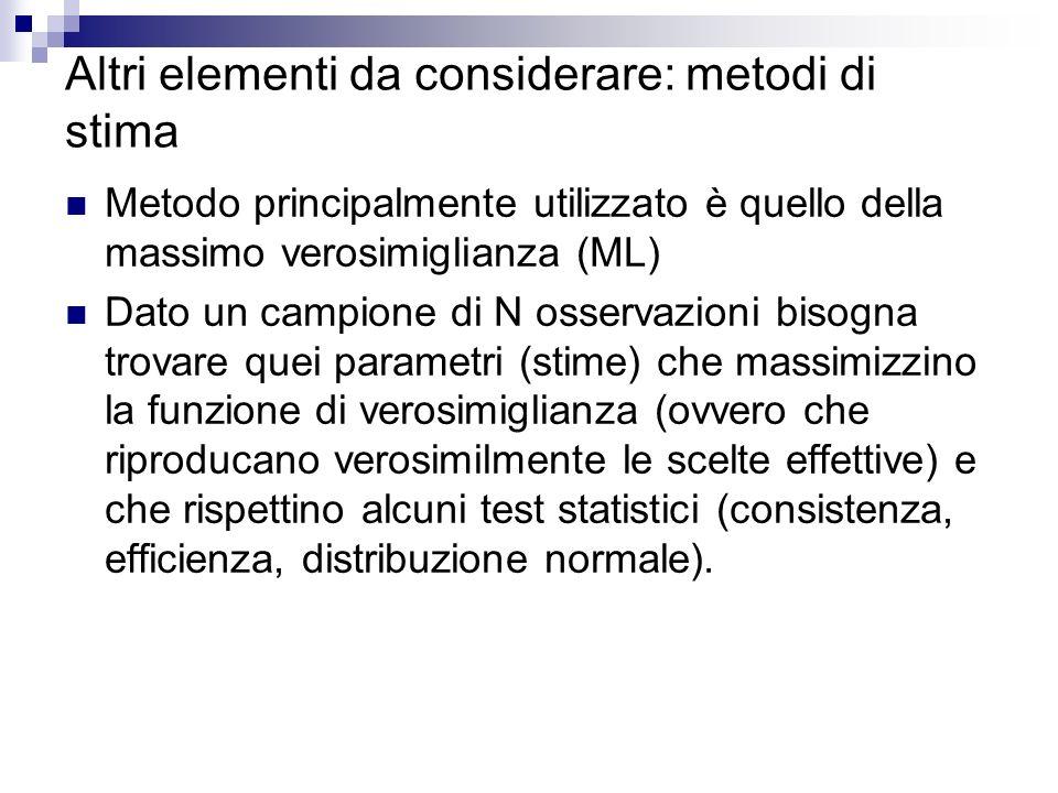 Altri elementi da considerare: metodi di stima