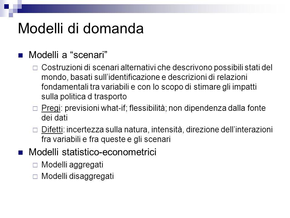 Modelli di domanda Modelli a scenari Modelli statistico-econometrici