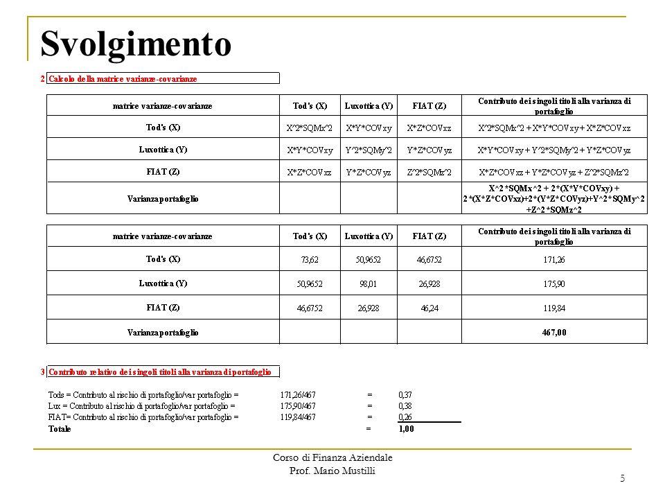 Svolgimento Corso di Finanza Aziendale Prof. Mario Mustilli