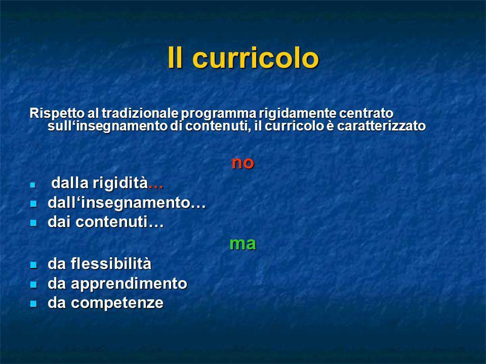 Il curricolo no ma dall'insegnamento… dai contenuti… da flessibilità