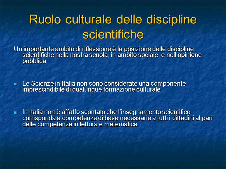 Ruolo culturale delle discipline scientifiche