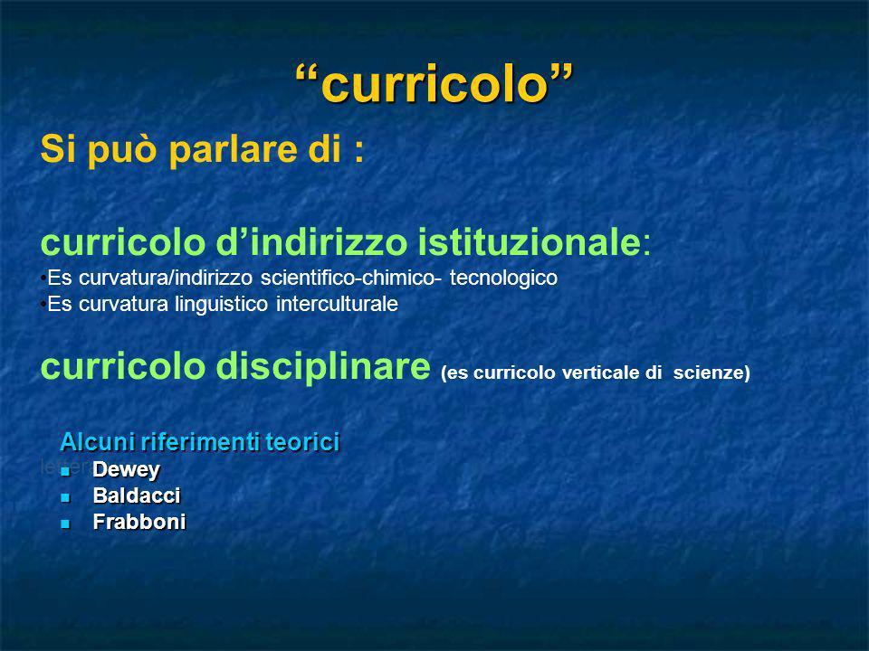 curricolo Si può parlare di : curricolo d'indirizzo istituzionale: