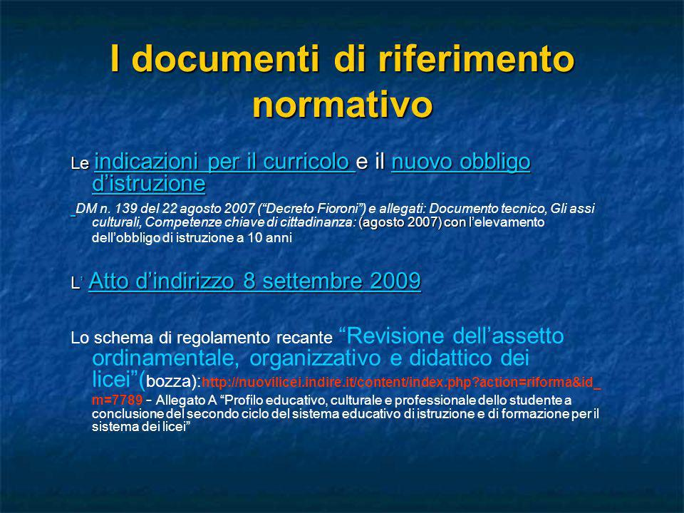 I documenti di riferimento normativo