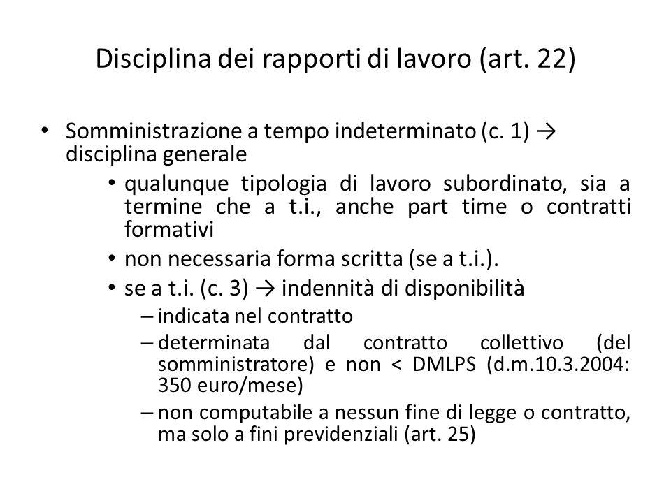 Disciplina dei rapporti di lavoro (art. 22)