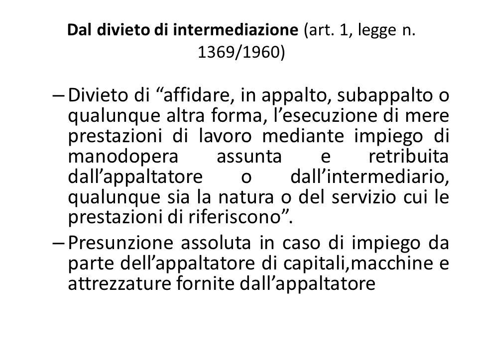 Dal divieto di intermediazione (art. 1, legge n. 1369/1960)