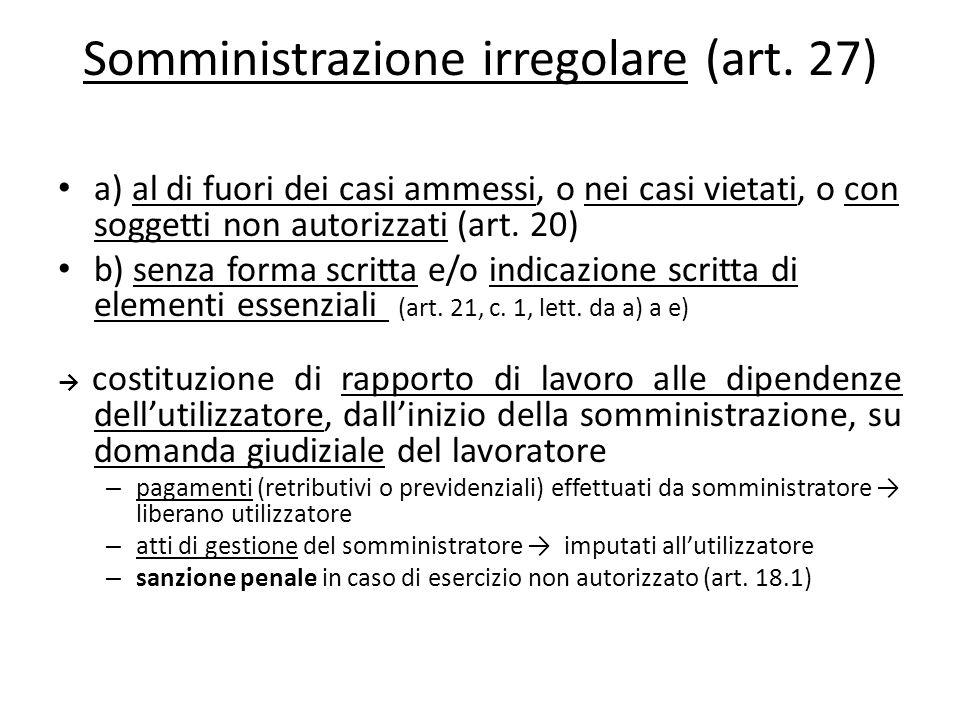 Somministrazione irregolare (art. 27)
