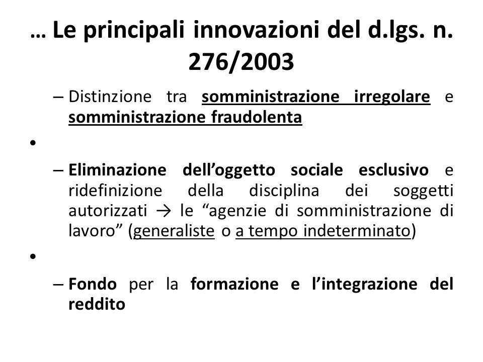 … Le principali innovazioni del d.lgs. n. 276/2003