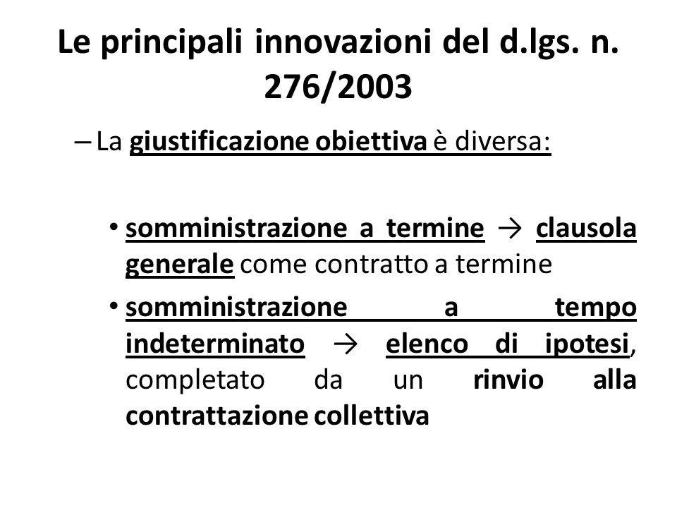 Le principali innovazioni del d.lgs. n. 276/2003