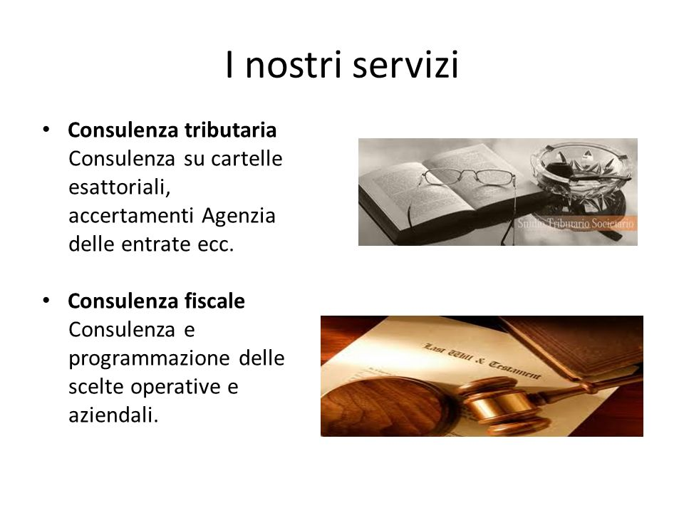 I nostri servizi Consulenza tributaria Consulenza su cartelle