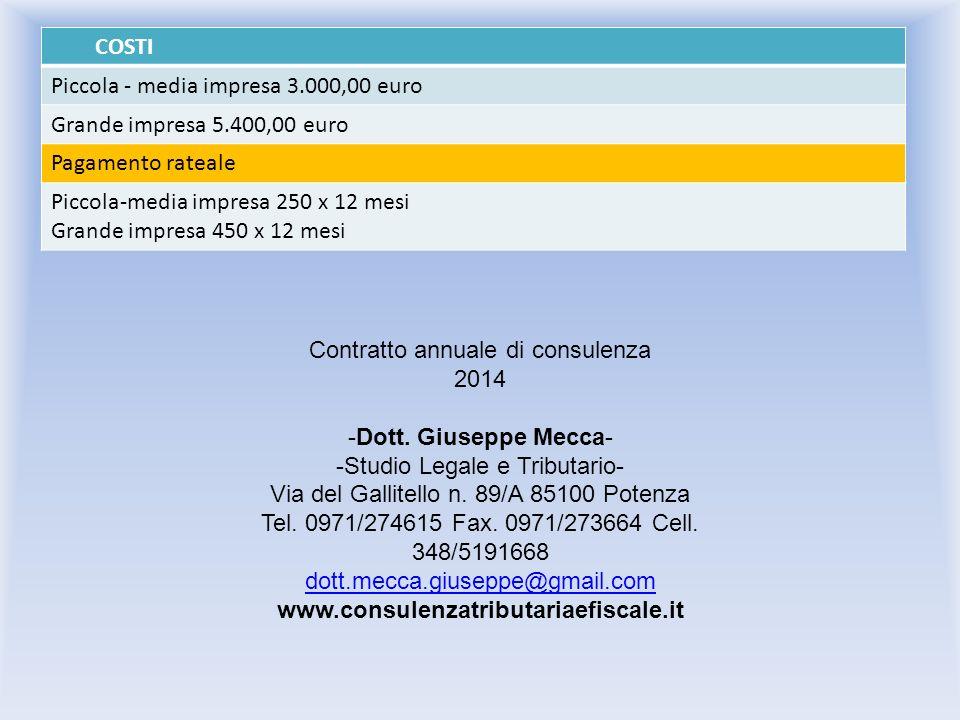 Piccola - media impresa 3.000,00 euro Grande impresa 5.400,00 euro