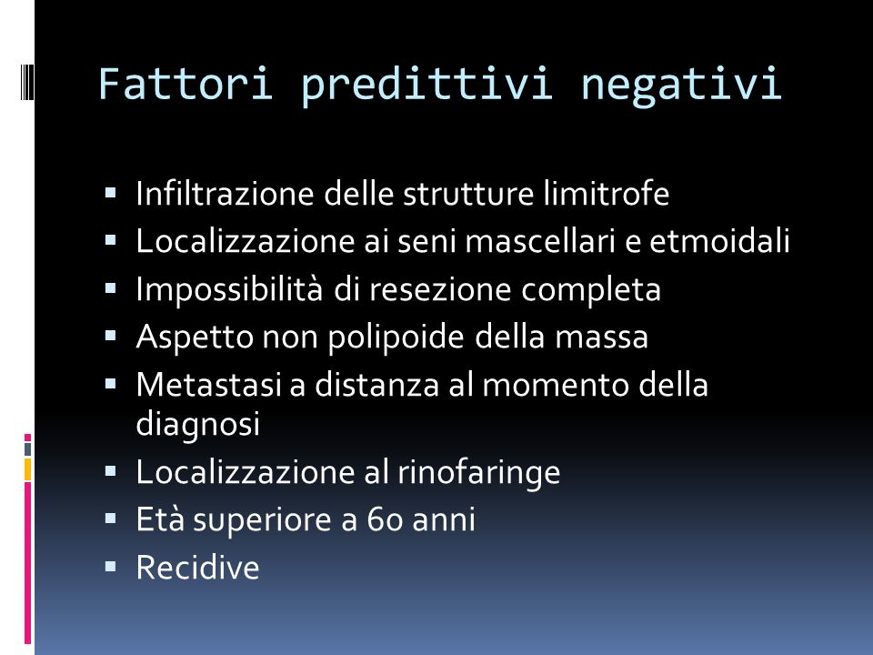 Fattori predittivi negativi