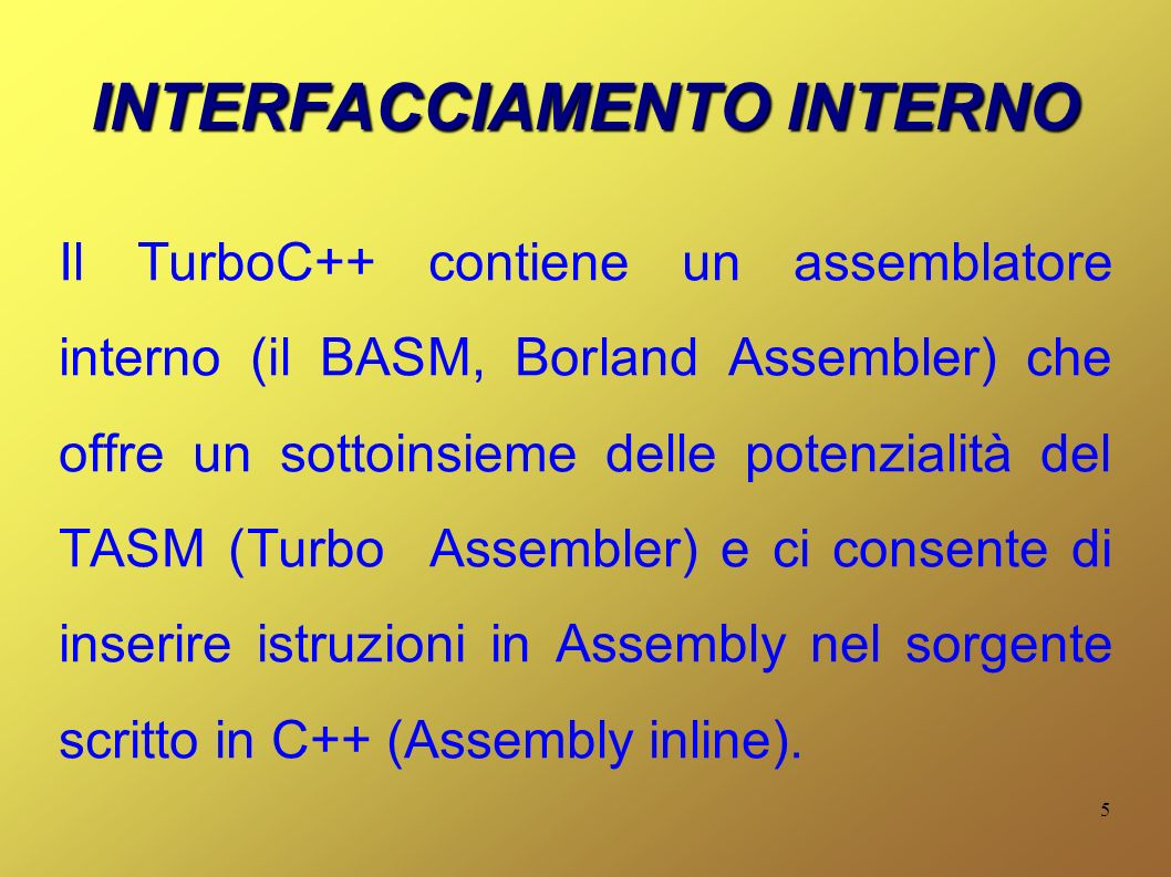 INTERFACCIAMENTO INTERNO
