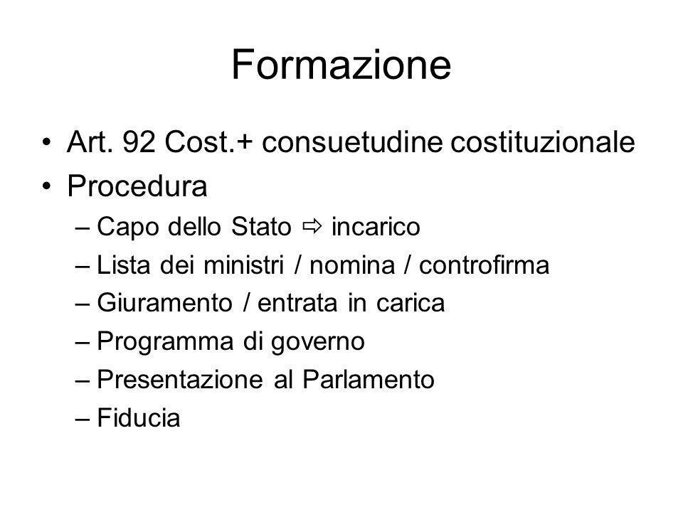Formazione Art. 92 Cost.+ consuetudine costituzionale Procedura