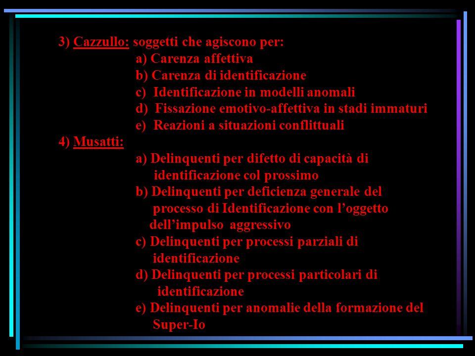 3) Cazzullo: soggetti che agiscono per:. a) Carenza affettiva