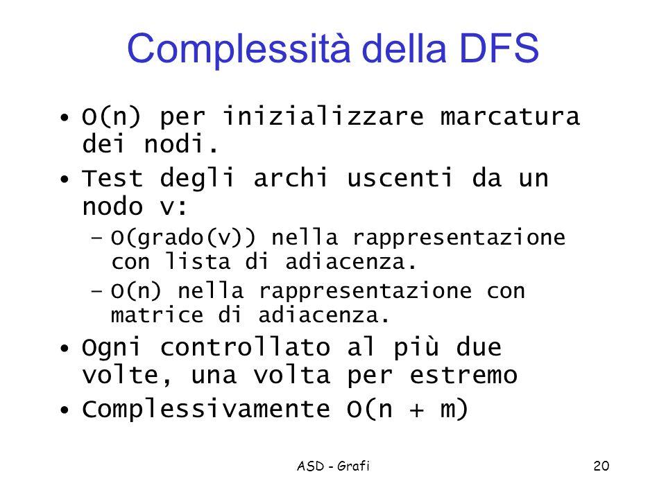 Complessità della DFS O(n) per inizializzare marcatura dei nodi.